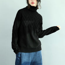 Load image into Gallery viewer, chunky black  knit tops casual high neck  sweaters 2018 cable fall blouse
