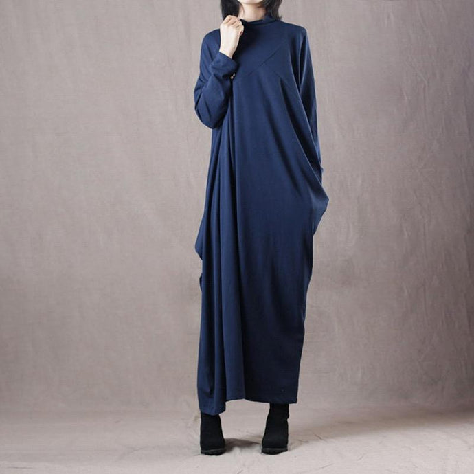chunky blue sweater dresses Loose fitting o neck winter dresses New asymmetric long knit sweaters