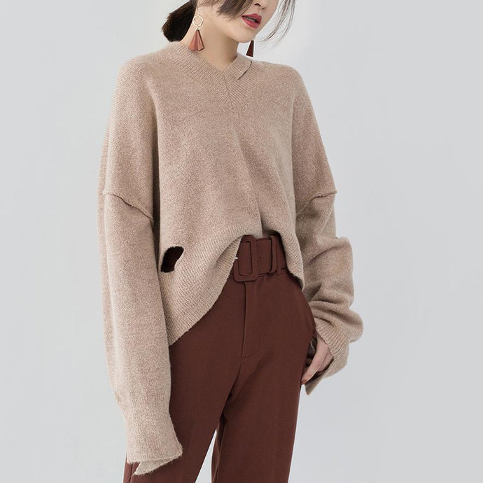 chunky khaki knit tops Loose fitting V neck pullover 2018 asymmetrical design winter shirt