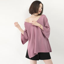 Load image into Gallery viewer, chunky pink winter sweater Loose fitting V neck knit sweat tops vintage Batwing Sleeve top