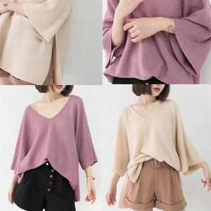 chunky pink winter sweater Loose fitting V neck knit sweat tops vintage Batwing Sleeve top