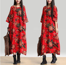Load image into Gallery viewer, Cotton Linen Loose Fitting Long Maxi Dress Short Sleeve Summer Dresses