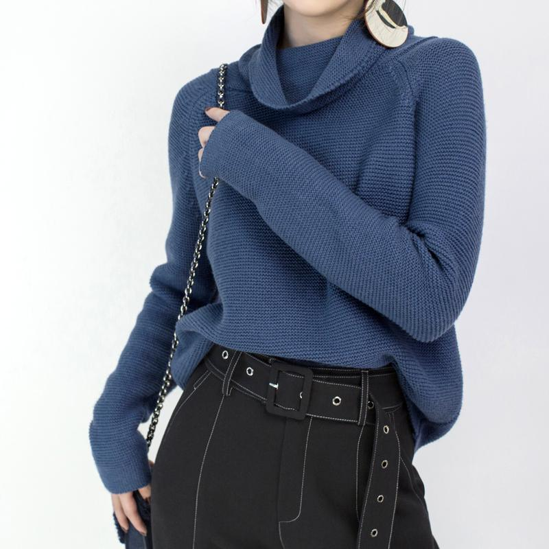 cozy blue sweater casual high neck knitted tops top quality baggy top