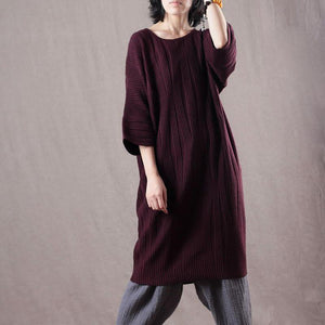 cozy burgundy  sweater dress Loose fitting bracelet sleeved winter dress 2018 o neck winter dresses