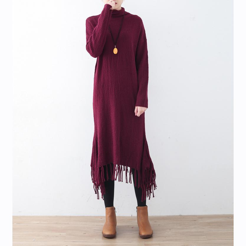 cozy burgundy spring dresses plus size high neck spring dresses pockets Tassel sweater dresses