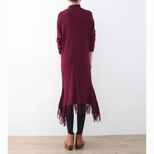 Load image into Gallery viewer, cozy burgundy spring dresses plus size high neck spring dresses pockets Tassel sweater dresses