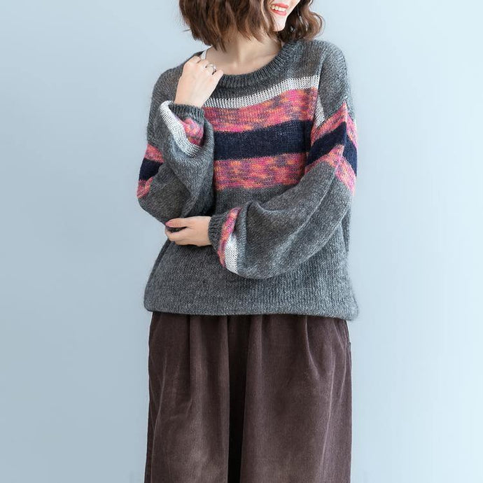 cozy gray  cozy sweater plus size patchwork color pullover women o neck top