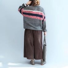 Load image into Gallery viewer, cozy gray  cozy sweater plus size patchwork color pullover women o neck top