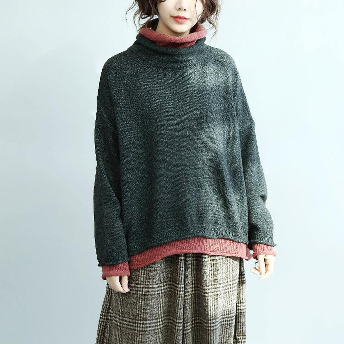 cozy gray sweaters oversized high neck knitted blouses vintage batwing sleeve tops