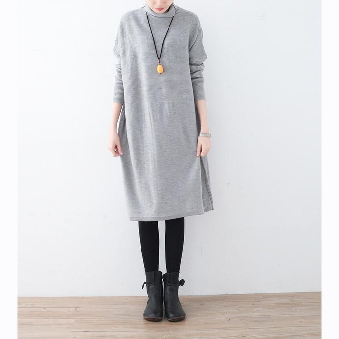 cozy light gray long sweater trendy plus size high neck winter dress baggy pullover sweater