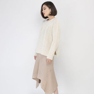 cozy white sweater fall fashion O neck side open knit sweat tops Elegant  cable knit fall blouse