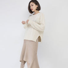 Load image into Gallery viewer, cozy white sweater fall fashion O neck side open knit sweat tops Elegant  cable knit fall blouse
