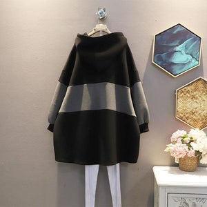 Contrast Color Patchwork Dress Winter New Casual Women Hooded Collar Pullover