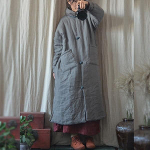 Women Winter Vintage Parkas Coats Cotton Linen Solid Color Button