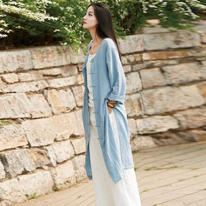 Style Women Solid Color Long Trench Coats  New Cotton Linen Vintage O-Neck Plate Buckle Coats