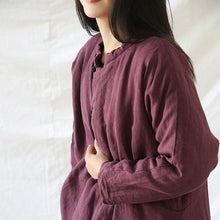 Load image into Gallery viewer, Women Vintage Linen Parkas Female Button Thick Pullover Parkas