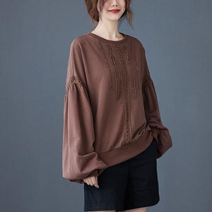 2020 Autumn Korean Simple Style Vintage Lace Patchwork Loose Female Cotton Pullovers
