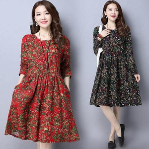 omychic plus size cotton linen vintage floral women casual loose midi autumn spring dress elegant clothes 2020 ladies dress