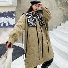 Load image into Gallery viewer, Fashion Splicing Print Parka Winter The Contrast Color Turn-down Collar Single Breasted Loose Casual Street Trendy