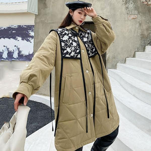 Fashion Splicing Print Parka Winter The Contrast Color Turn-down Collar Single Breasted Loose Casual Street Trendy