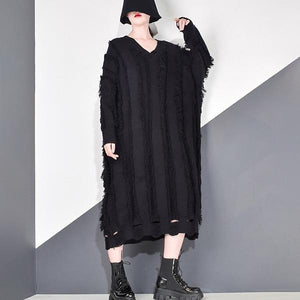 Patchwork Tassel Dress Women Casual Tide Fashion Hollow Out New Style V Neck Collar Long Batwing Sleeve Pullover