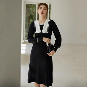Knitting Splicing Dresses Contrast Color Square Collar Pullover