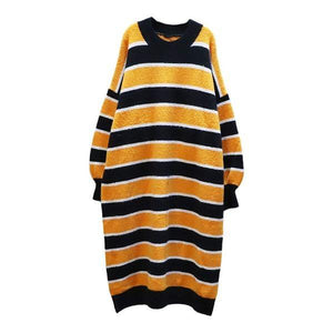 Knitting Stripe Splicing Dress Contrast Color Casual Collar Pullover Loose Dress