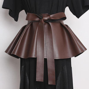 Bows Bandage Ruffles Cummerbunds  Fashion New Style Loose Solid Color Elegant Personality Pleated