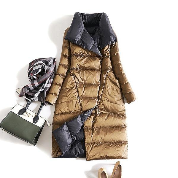 Solid Color Down Coats Casual Warm New Female Big Pockets High Quality Solid Color Full Sleeve Coats