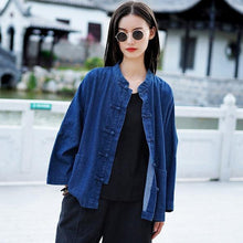 Load image into Gallery viewer, Women Autumn Winter Fashion Stand Plate Buckle Denim Coat