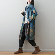 Load image into Gallery viewer, Turn-down Collar Floral Print Denim Coat 2020 New Long Sleeve Pockets Women Windbreaker