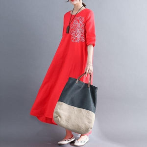 2020 Simple Style Vintage Embroidery Loose Comfortable Female Casual Dresses