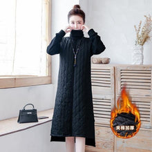 Load image into Gallery viewer, omychic plus size Padded cotton vintage for women casual loose midi autumn winter dress