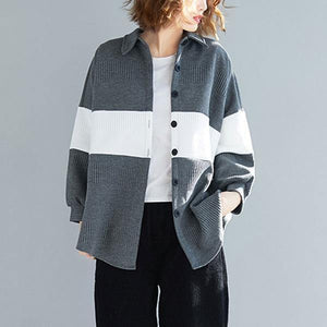 Oversized Women Autumn Casual Coats  Turn-down Collar Patchwork Color Loose Female Jackets