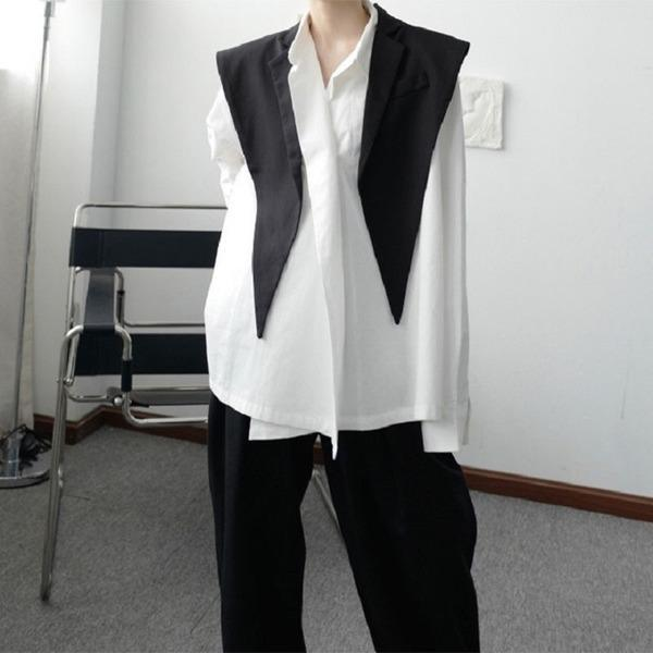 Patchwork Solid Vest Women 2021  Casual Fashion Style Temperament All Match T Women Clothes