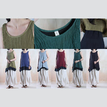 Load image into Gallery viewer, dark blue layered linen sleeveless shirts summer tank tops