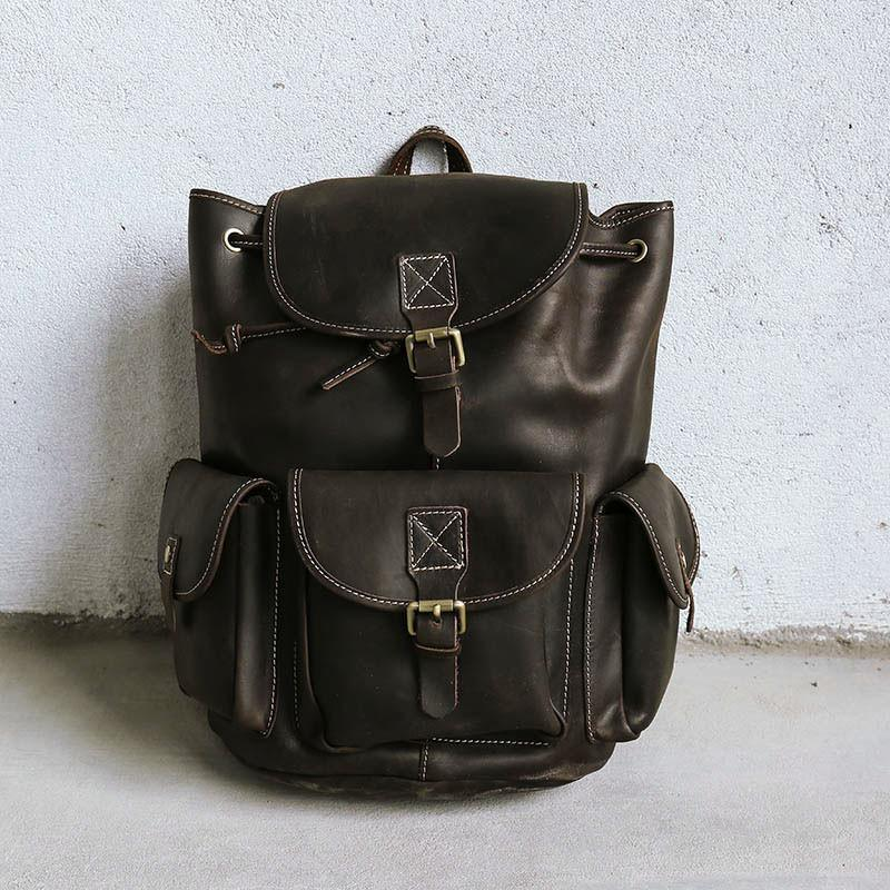 dark brown leather casual women backpack