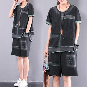 dark gray casual cotton two pieces loose short sleeve tops and hot pants