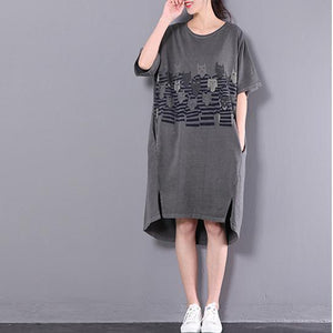 dark gray plus size summer dresses unique cartoon printing casual dress women vintage sundress