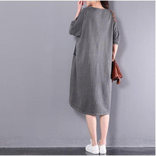 Laden Sie das Bild in den Galerie-Viewer, dark gray plus size summer dresses unique cartoon printing casual dress women vintage sundress