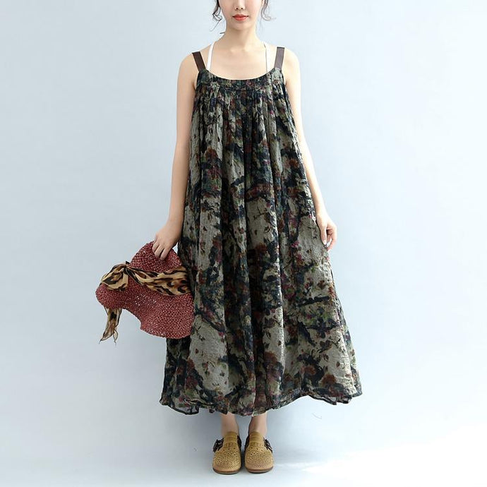 dark gray print linen dresses plus size casual sundress wrinkled casual sleeveless maxi dress