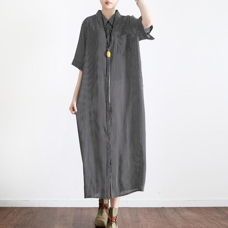 dark gray striped linen dresses plus size casual silk sundress short sleeve shirt maxi dress