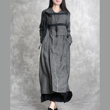 Load image into Gallery viewer, dark gray unique casual linen cardigans plus size asymmetric drawstring maxi coat