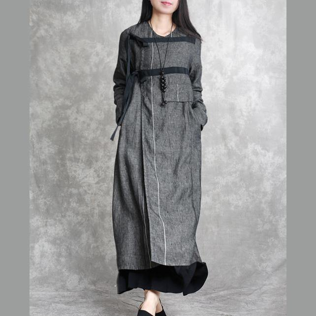 dark gray unique casual linen cardigans plus size asymmetric drawstring maxi coat