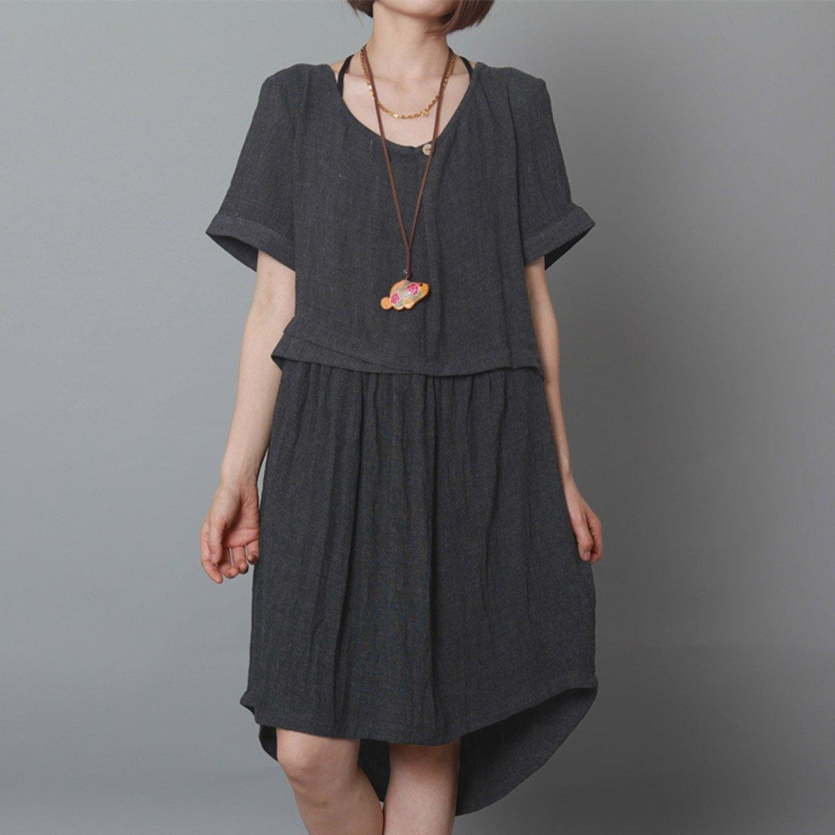 dark grey causal summer dress oversize shift dress holiday garden dress