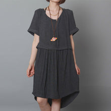 Laden Sie das Bild in den Galerie-Viewer, dark grey causal summer dress oversize shift dress holiday garden dress