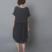 Load image into Gallery viewer, dark grey causal summer dress oversize shift dress holiday garden dress