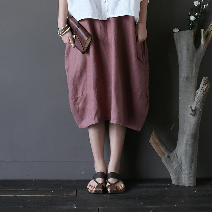 dark pink linen patchwork skirts plus size casual mid skirts