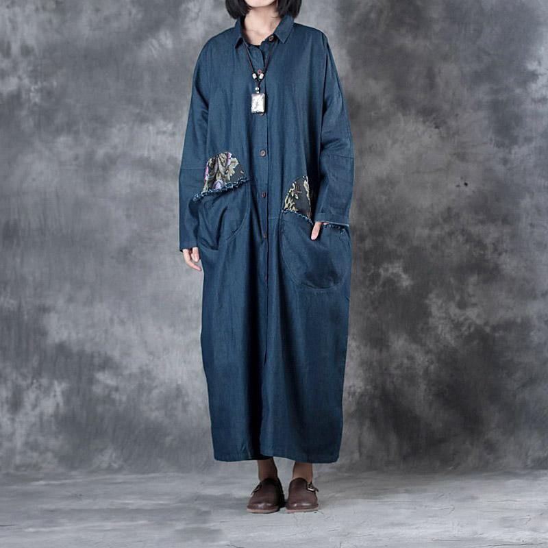 denim blue vintage cotton trench coat plus szie big pockets prints long coats