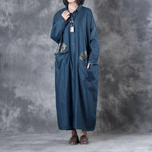 Load image into Gallery viewer, denim blue vintage cotton trench coat plus szie big pockets prints long coats
